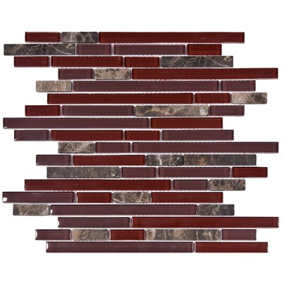 "EliteTile Sierra 12"" x 11-3/4"" Polished Glass and Stone Piano Mosaic in Bordeaux"