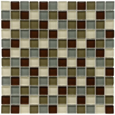 EliteTile Sierra 11-3/4&quot; x 11-3/4&quot; Glass and Stone Square Mosaic in Canopy