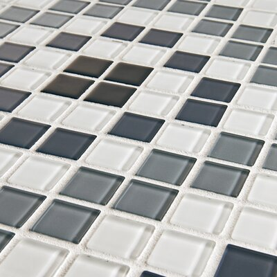 "EliteTile Ambit 11-3/4"" x 11-3/4"" Polished Medallion Monochrome Glass Mosaic Wall Tile in Multi"