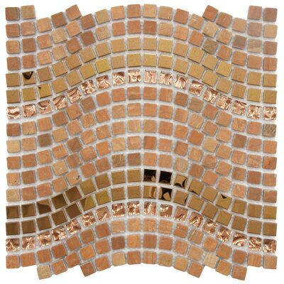 "EliteTile Sierra 11-3/4"" x 12-1/4"" Polished Glass, Stone and Metal Mosaic in Wave Saturn"