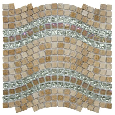 "EliteTile Sierra 11-3/4"" x 12-1/4"" Polished Glass, Stone and Metal Mosaic in Wave Venus"
