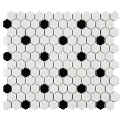"EliteTile Retro 12"" x 10-1/4"" Glazed Porcelain Hexagon Mosaic in White with Black Dot"