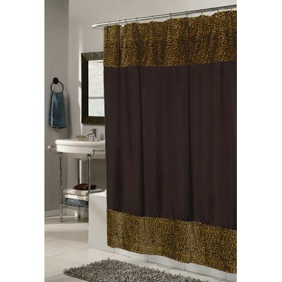 Carnation Home Fashions Animal Instincts Polyester Sheena Faux Fur Trimmed Shower Curtain