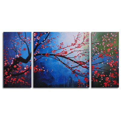 "My Art Outlet Hand Painted ""Stormy Cherry Tree"" 3-Piece Canvas Art Set"