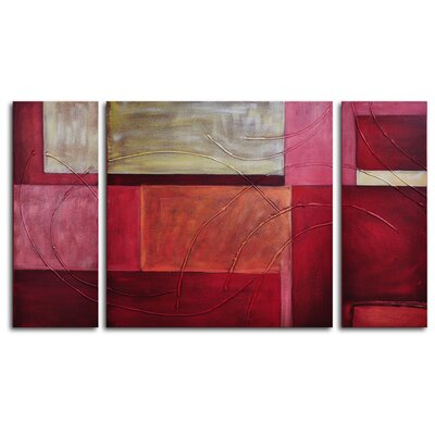 "My Art Outlet Hand Painted ""Gold on Red"" 3-Piece Canvas Art Set"