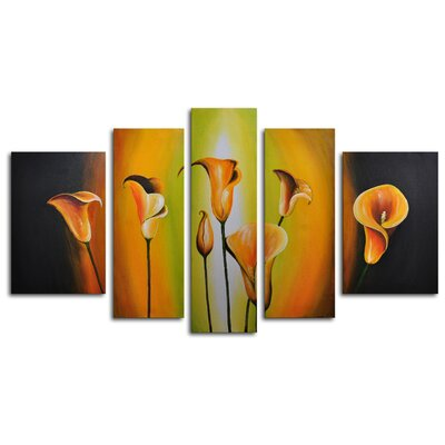 "My Art Outlet Hand Painted ""Lilies By Evening Light"" 5-Piece Canvas Art Set"