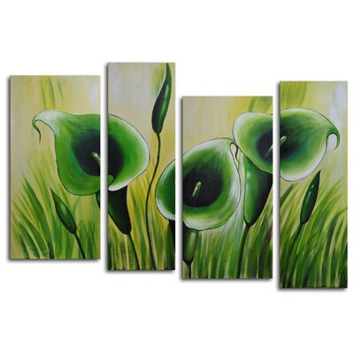 "My Art Outlet Hand Painted ""Green Memory Roots"" 4-Piece Canvas Art Set"