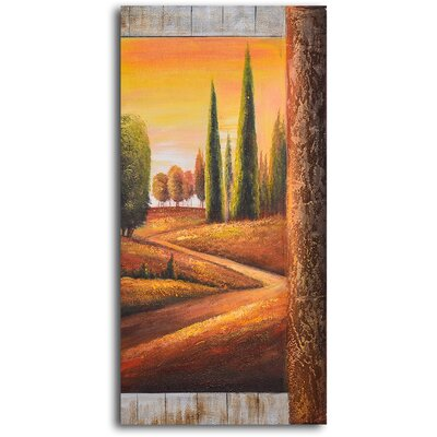 "My Art Outlet Hand Painted ""Sunlit Poplars"" Oil Canvas Art"