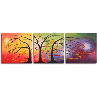 "My Art Outlet Hand Painted ""Equilibrium in The Light"" 3 Piece Oil Canvas Art Set"