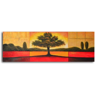"My Art Outlet Hand Painted ""Illuminated Tree Triptych"" Oil Canvas Art"