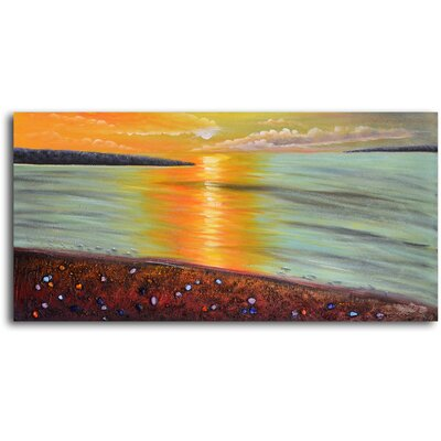 "My Art Outlet Hand Painted ""Moonlit Sea and Pebbles"" Oil Canvas Art"