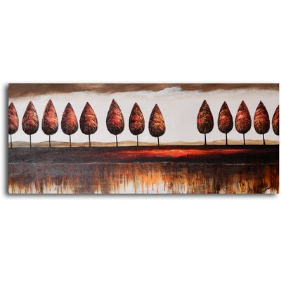 "My Art Outlet Hand Painted ""Trees in Good Order"" Oil Canvas Art"