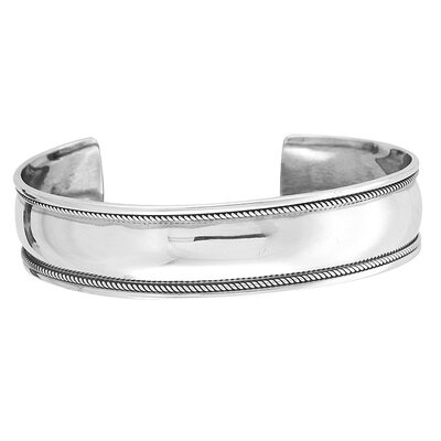 Evalue Jewelry Sterling Essentials Sterling Silver Antiqued-border Cuff Bracelet