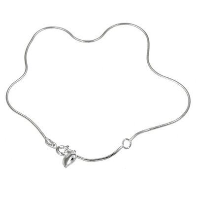 Evalue Jewelry Sterling Essentials Sterling Silver Snake Chain and Heart Anklet