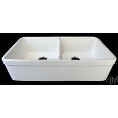 "Alfi Brand 29.75"" x 17.75"" Short Wall Double Bowl Farmhouse Kitchen Sink"