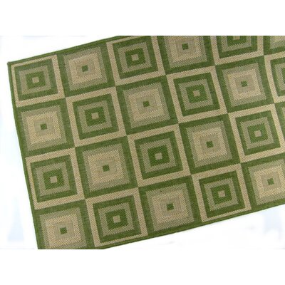 American Mills Pyramid Blocks Emerald Rug