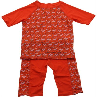 Two Piece Nylon / Spandex Rush Guard in Loving Heart Print