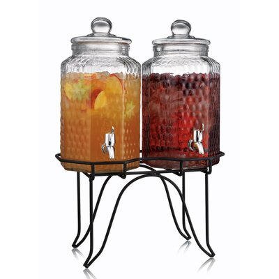Del Sol Hammered Glass Double Drink Dispenser on Stand