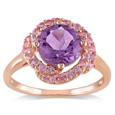 Pink Silver Pink Rhodium Plated Amethyst Pink Sapphire Fashion Ring
