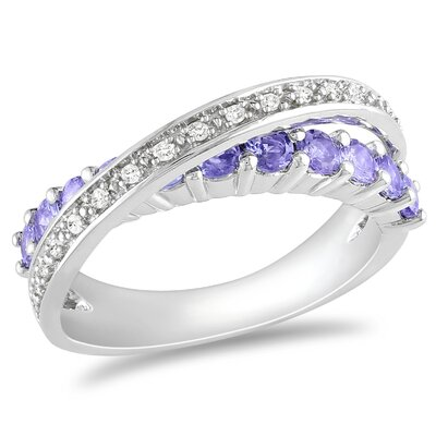Sterling Silver Diamond and Tanzanite Fashion Ring