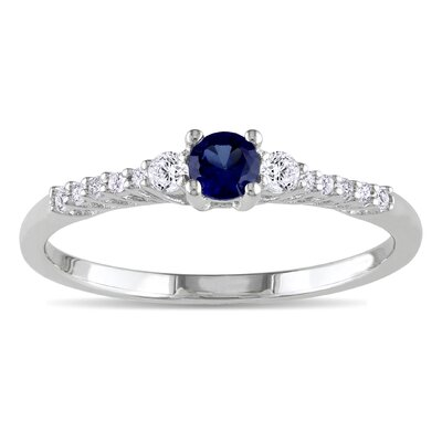 sterling Silver Created Blue Sapphire and White Sapphire Fashion Ring