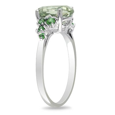 Sterling Silver Green Amethyst and Tsavorite Fashion Ring