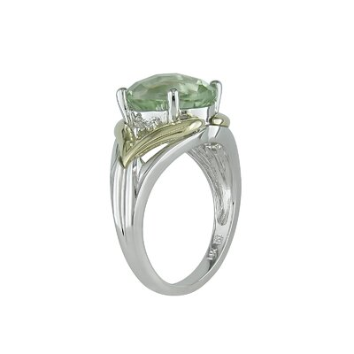 Sterling Silver and Yellow Gold Diamonds and Green Amethyst Fashion Ring