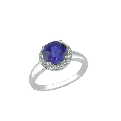 Amour White Gold Diamond and Created Blue Sapphire Fashion Ring