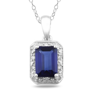 Rope-chain Round-cut Diamond and Emerald-cut Created Sapphire Pendant