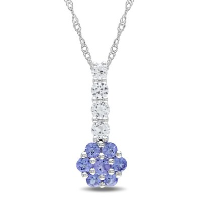 Amour Rope-chain Round-cut Created Sapphire and Round-cut One Carat of Tanzanite Gemstone Fashion Pendant