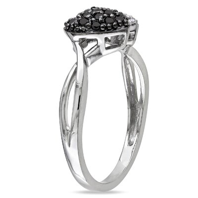 Amour Sterling Silver Round Cut Diamond Fashion Wedding Ring