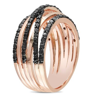 Amour Pink Silver Round Cut Diamond Stacking Ring