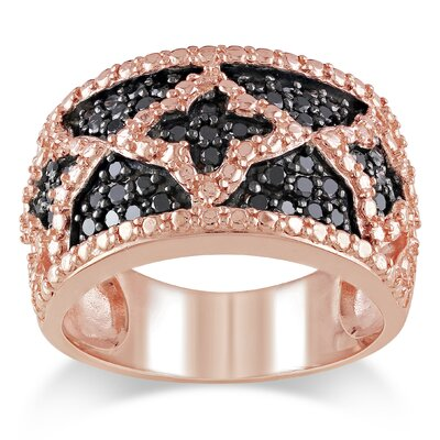Pink Silver Round Cut Diamond Statement Ring