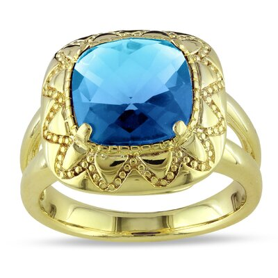 Gold Tone Yellow Plated Cushion Checkerboard Cut Synthetic Blue Topaz Ring