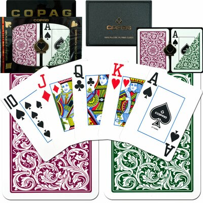 Copag Cards Poker Index Setup in Green / Burgundy