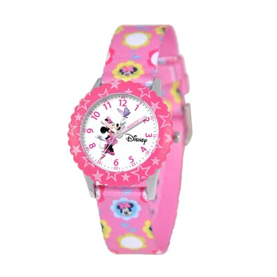 Disney Kid's Minnie Mouse Time Teacher Printed Strap Watch in Pink