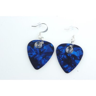 PickC Jewelry Guitar Pick Earrings with Silver Swirled Charm
