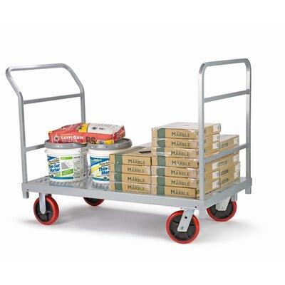 Raymond Products Heavy Duty Platform Truck, Quiet Poly Casters, 2 Fixed and 2 Swivel, 1 Push Handle and 1 End Handle