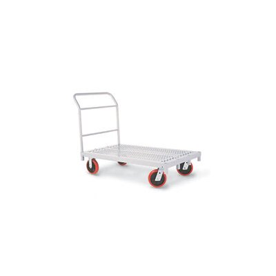 Raymond Products Heavy Duty Platform Truck, Quiet Poly Casters, All Swivel, 1 Push Handle