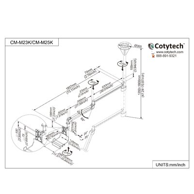 Cotytech Long Reach LCD Ceiling Mount with Monitor Back Cable Cover