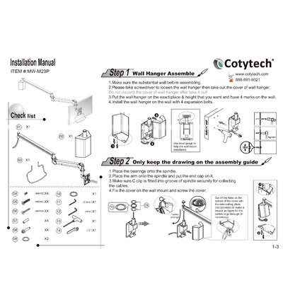 Cotytech Long Reach LCD Monitor Arm with Monitor Back Cable Cover (for flat panel 2.2 lb to 13.2 lbs)