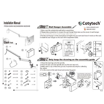 Cotytech Long Reach LCD Monitor Arm (for flat panel 13.2 lbs to 26.4 lbs)
