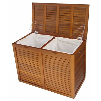 Aqua Teak Spa Teak Large Double 2 Section Hamper