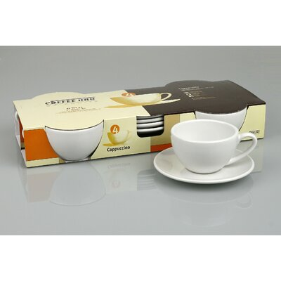 Konitz Coffee Bar 6 oz. Cappuccino Cup and Saucer (Set of 4)