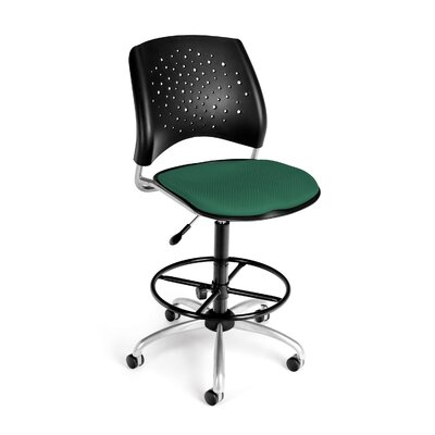 OFM Height Adjustable Swivel Stool with Lumbar Support