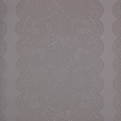 York Wallcoverings Barbara Becker Raised Surface Rose Lace Stripe With Scalloped Edges Wallpaper