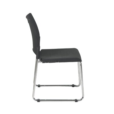 Office Star Products Sled Base Stack Chair with Plastic Seat and Back, Black, 2 Pack