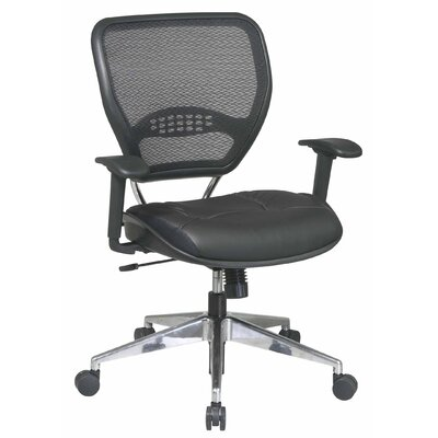 Office Star Products Space Seating Mid-Back Leather AirGrid Back Task Chair