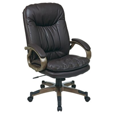 Office Star Products High-Back Leather Executive Chair with Padded Arms