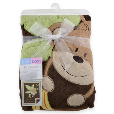 Just Born Jumbo 3D Valboa Applique Monkey Business Blanket